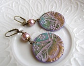 Dragonfly Earrings. Faux Copper Disks Earrings. Dusty Rose and Lavender Circle Earrings. Dragonfly Painted Polymer Clay Earrings.