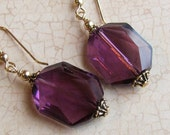 Wedding  Amethyst  Crystal Earrings. 14 K Gold Purple Dangle Earrings.