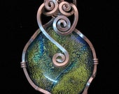 Ocean Shine - One of a kind Dichroic Glass and Sterling Silver Wire Wrapped Pendant