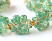 Handmade Lampwork Glass Bead Set in Green Seafoam