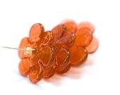 Flower Lampwork Glass Handmade Beads Sunset Orange Disks