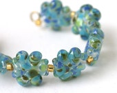 Handmade Lampword Glass Bead Set in blue and green Garden Party
