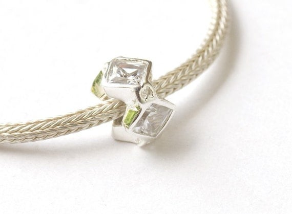 SALE Sterling Silver Clear Squares Crystal Ring Bead for European Charm Bracelets