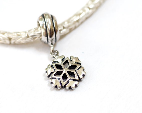 Snowflake Dangle Sterling Silver European Charm Big Hole Bead for Bracelets SALE winter jewelry