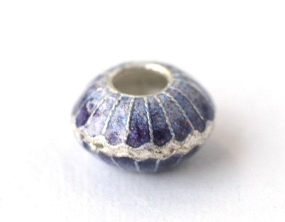 SALE Purple Oyster Sterling Silver Enamel European Charm Big Hole Bead for Bracelets