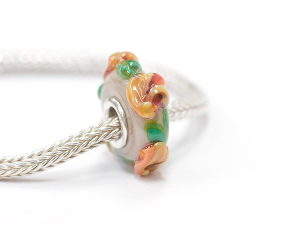 European Charm Sterling Silver Cored Lampwork Glass Flower Bead Big Hole Peach Flowers