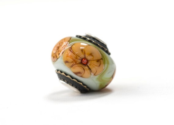 Lampwork Bead Glass Papaya Flower Sterling Silver Core Handmade Big Hole Focal European Charm
