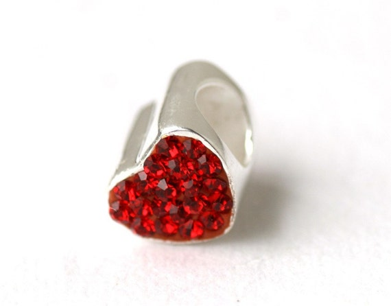Sterling Silver CZ Red Pandora Style Heart Bead