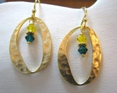 Gold O Earrings with green & yellow crystals