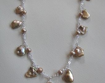 Champagne Cornflake Pearl Necklace