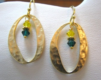 Gold O Earrings with green and yellow crystal accents