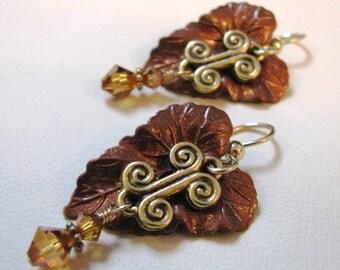 Hand painted copper leaf earrings