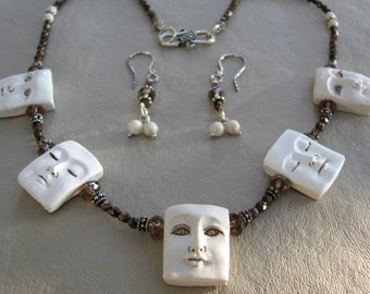 SLEEPY TIME - Adorable Clay Faces Necklace Set