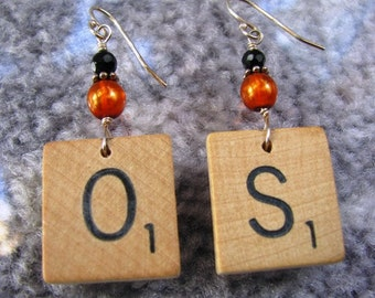 Scrabble tile earrings - OS