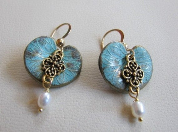 Verdigris Lily Pads and Pearls