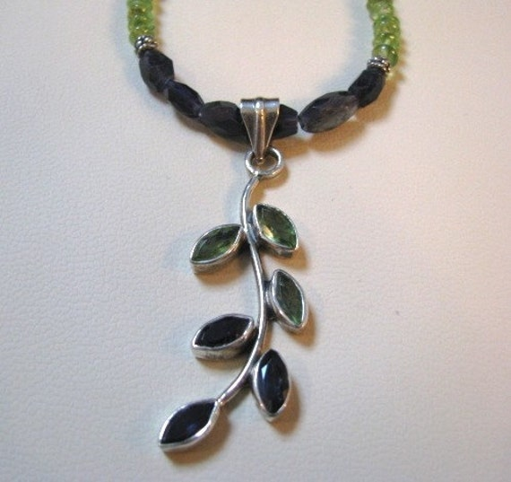 RESERVED FOR PEGGY - Peridot and Iolite Leaf Pendant