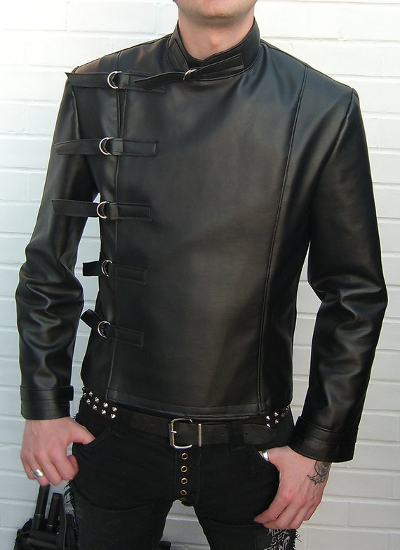 Leatherette Buckle Jacket Superna clothing menswear punk goth gothic fetish cyber clubwear industrial mens veggie