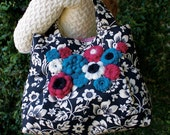 Felted Wool Applique Large Tote, Turquoise Magenta Black & Ivory