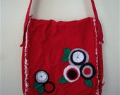 CLEARANCE SALE---Deconstructed Canvas Messenger Bag in Red with Felt Applique