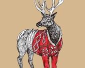 The Cozy Elk Print