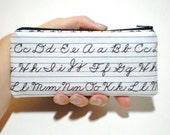 Writing Practice in White Long Zipper Pouch