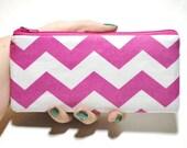 Pink Chevron Long Zipper Pouch
