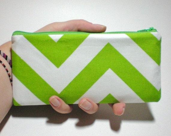 Lime Green Chevron Long Zipper Pouch