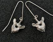Silver Vertebra Drop Earrings