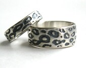 His and Hers Hand Made Leopard Print Wedding Rings