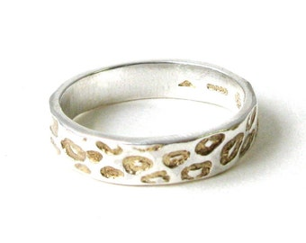 Thin Leopard Print Ring With Gold Detail