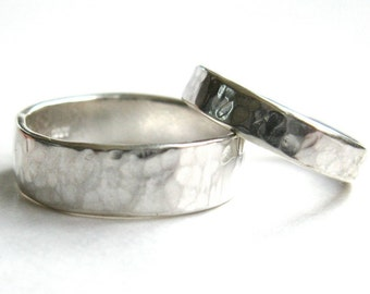 Wedding Rings, His and Hers Hammered Silver Rings