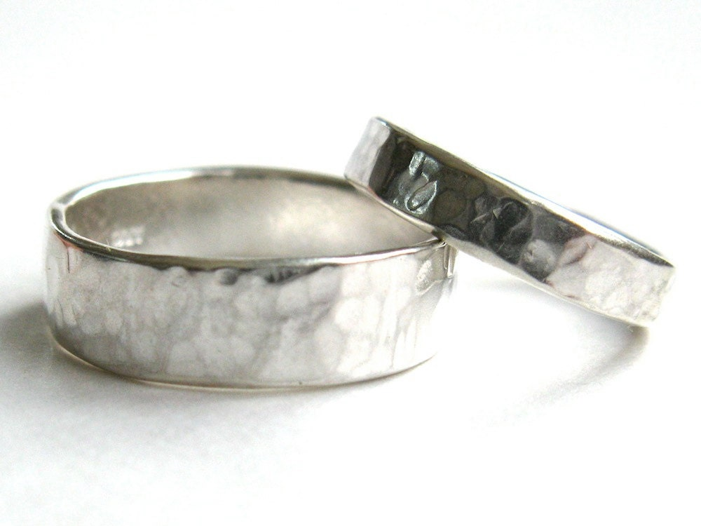 his and hers hammered silver wedding rings hand made wedding bands rustic wedding rings - Rustic Wedding Rings