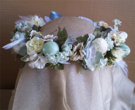 Robin Egg Blue Spring Faerie Easter Fairy Head Wreath accessory