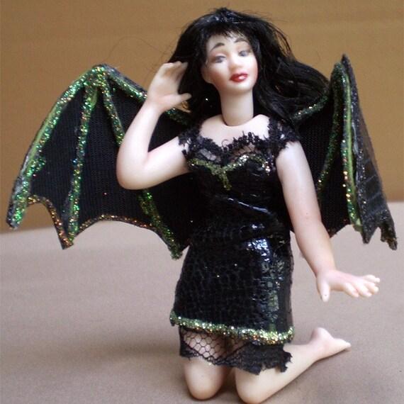 Halloween Vinyl Bat miniature porcelain faerie doll fairy ornament fantasy figure figurine OOAK