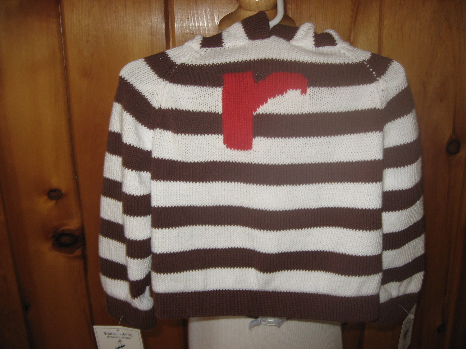 Maine made cotton striped zip up the back with hood sweater- you choose letter & color