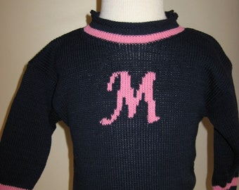 Personalized Rollneck Pullover Monogram sweater- you choose letter and color