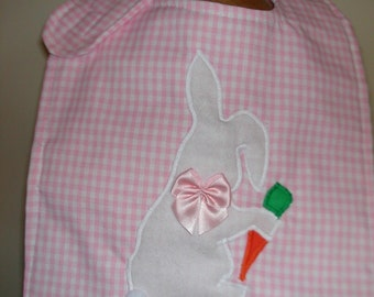 Maine made spring easter bunny rabbit carrot tail gingham baby bib