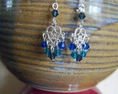 Earrings - Blue Hues Mini Chandeliers - E659