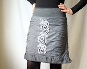 Gray grey skirt with lace application - stretchy waistband