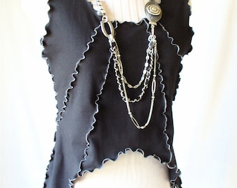 Black cotton summer Tank Top with ruffled seams
