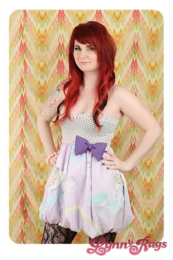 Purple UNICORN Baby Doll Dress Bubble BOW Handmade Rainbow