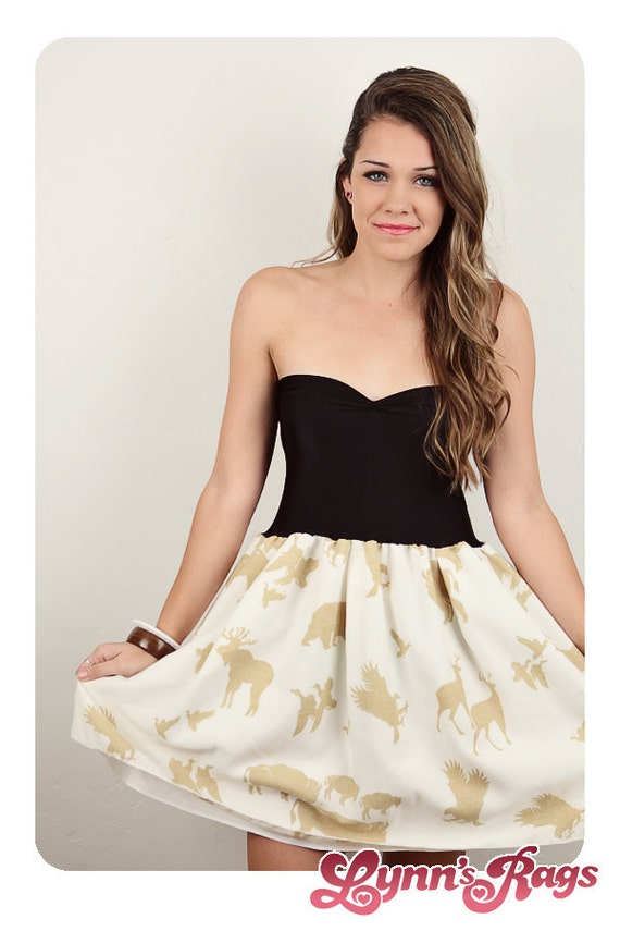 Nature Deer Moose Brown Black DRESS Peach BOW Strapless Party