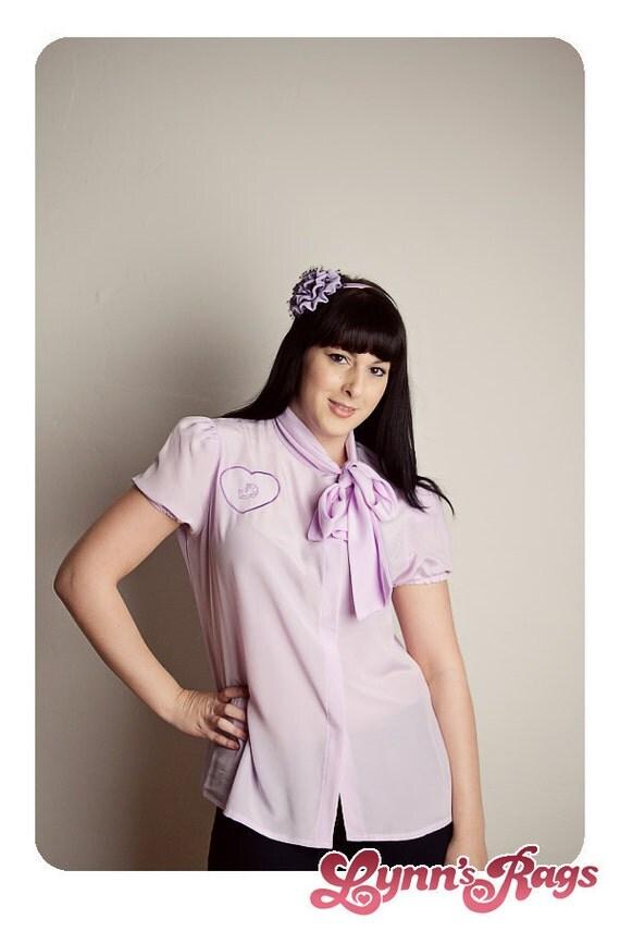 Vintage Lavender DINOSAUR Heart Blouse DIY Shirt Bow Sale SALE Sale