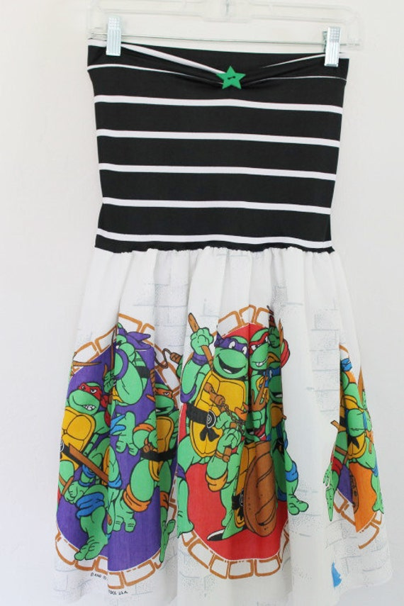 Teenage Mutant Ninja Turtles Party DRESS Green Black Vintage 90s