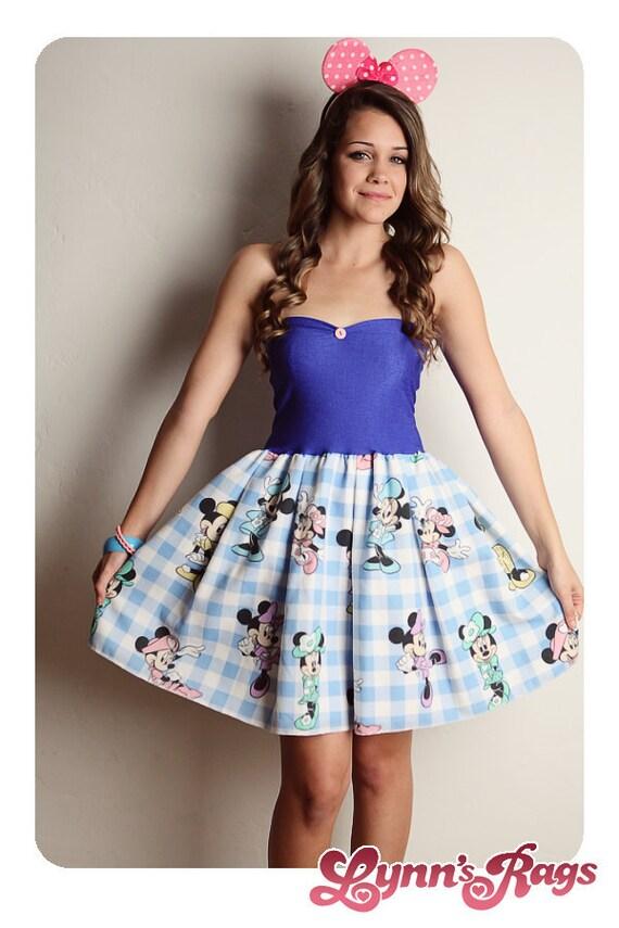 MINNIE MOUSE Disney Dress Blue Pink Bow Birthday Party Handmade