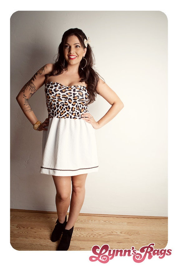 White LEOPARD Baby Doll DRESS Pink BOW Handmade Strapless