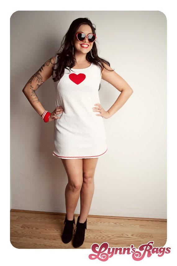 Vintage Red White HEART Mini DRESS Handmade LARGE