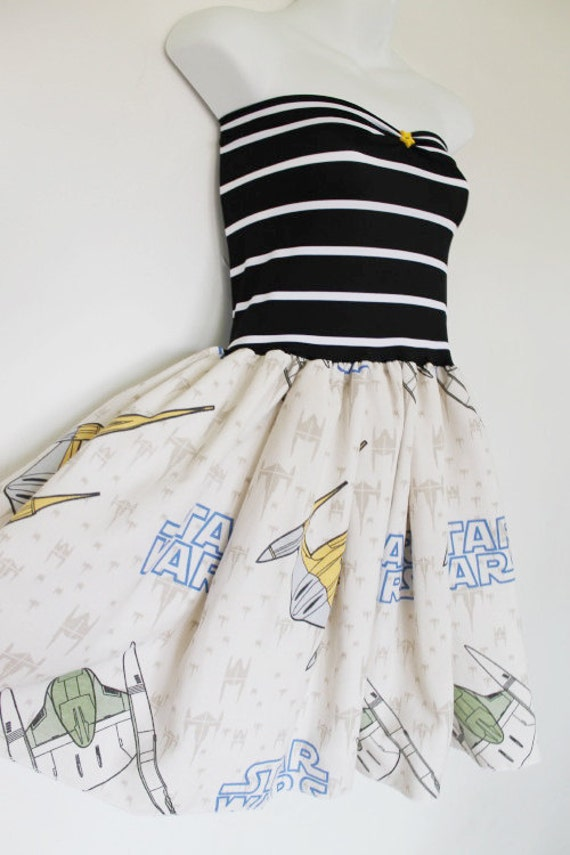 STAR WARS Baby Doll Dress Bow Strapless Handmade Party
