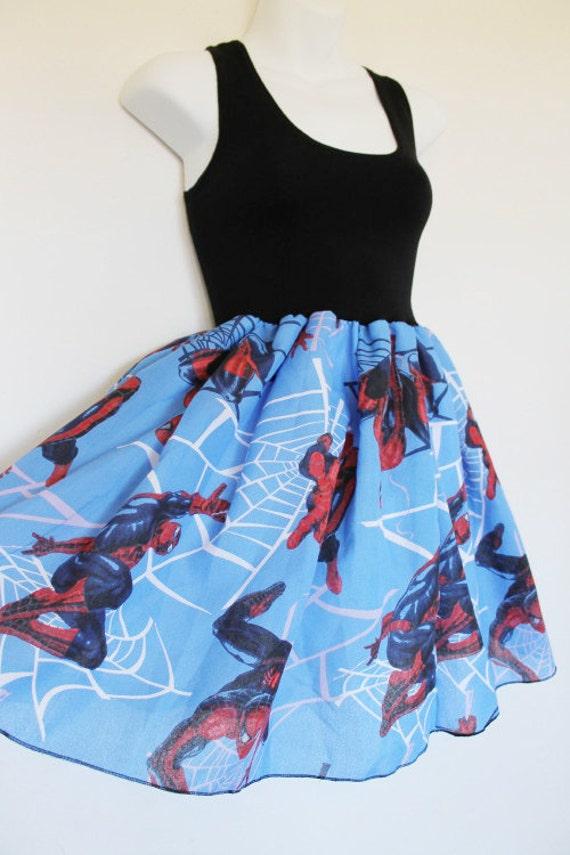 Blue Red Spiderman Tank Dress Bow Handmade Marvel Comic