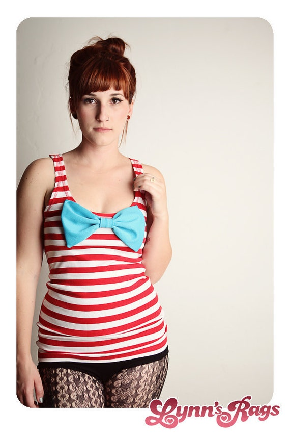 Red White Stripe TANK TOP Teal Bow Shirt LARGE
